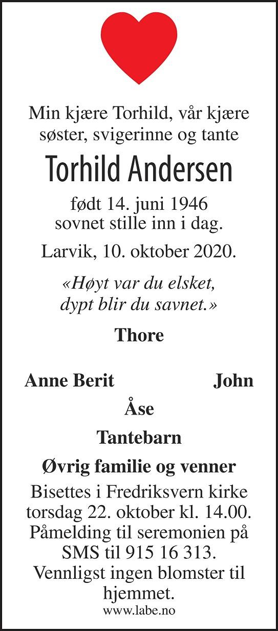 Torhild Andersen Dødsannonse