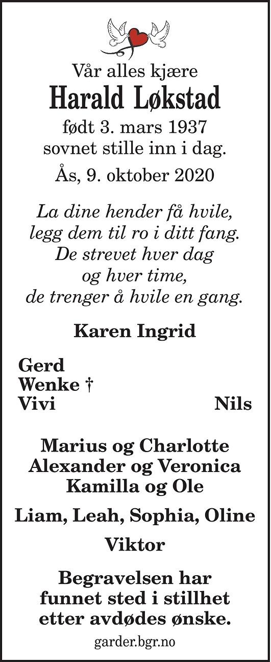 Harald Løkstad Dødsannonse