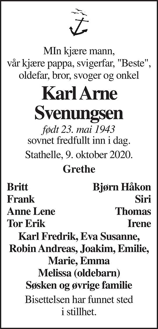 Karl Arne Svenungsen Dødsannonse