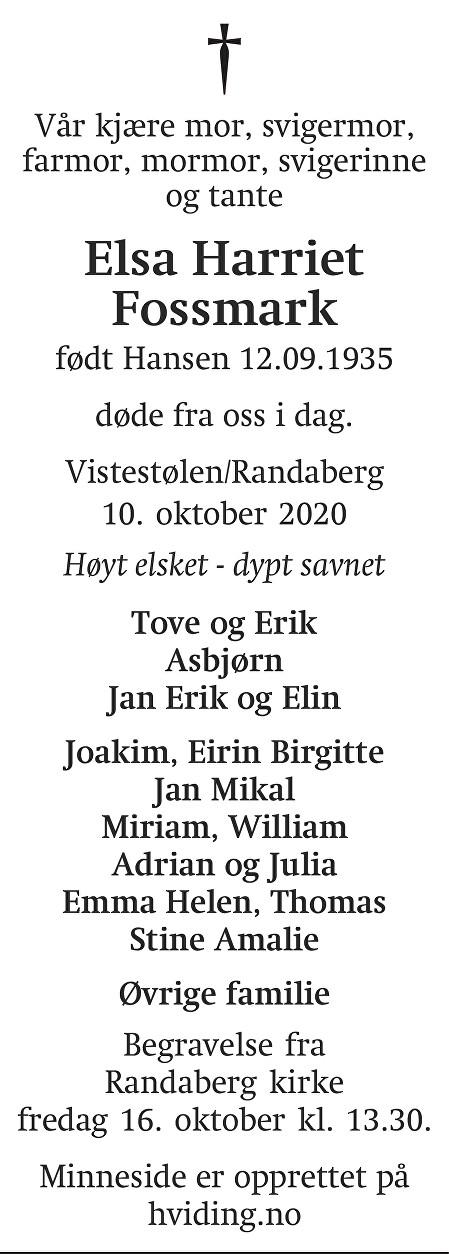 Elsa Harriet Fossmark Dødsannonse
