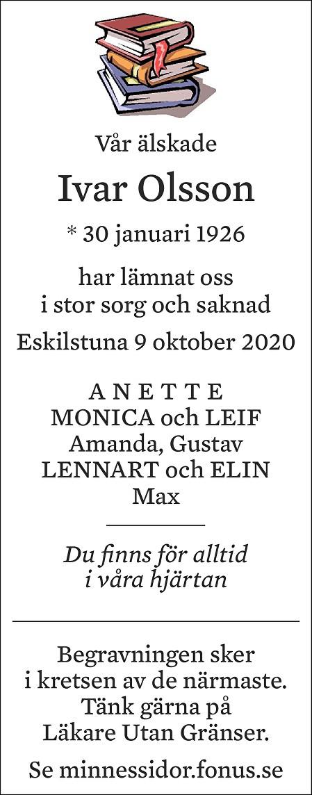 Ivar Olsson Death notice