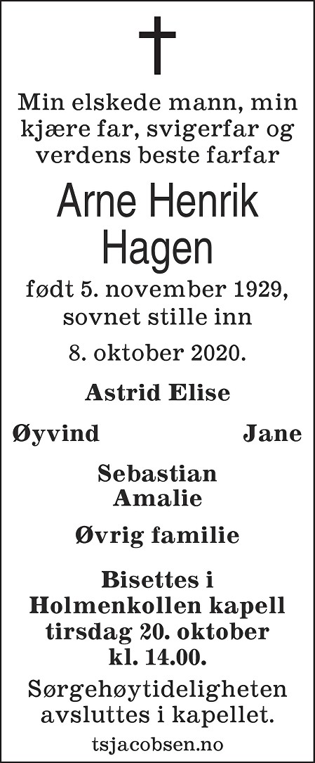 Arne Henrik Hagen Dødsannonse