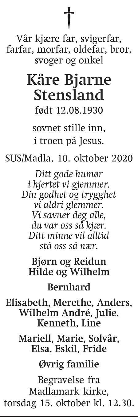 Kåre Bjarne  Stensland Dødsannonse
