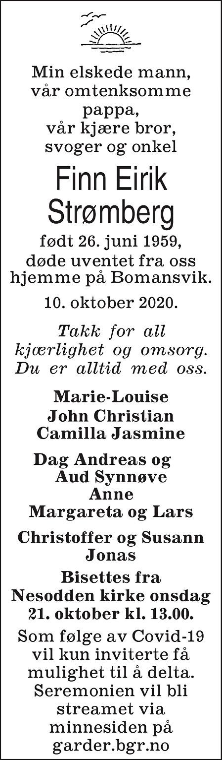 Finn Eirik Strømberg Dødsannonse
