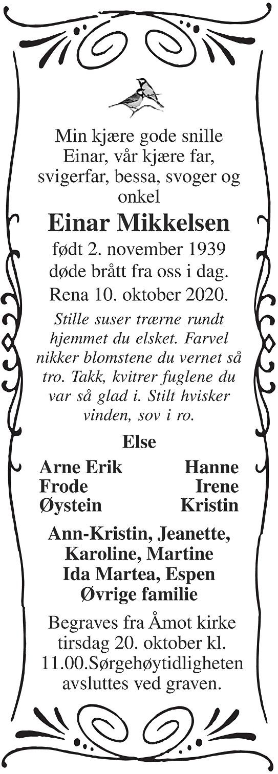 Einar Mikkelsen Dødsannonse