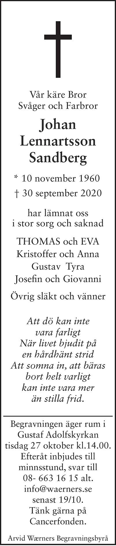 Johan Lennartsson Sandberg Death notice