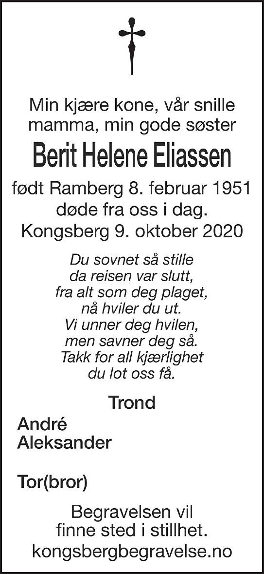 Berit Helene Eliassen Dødsannonse