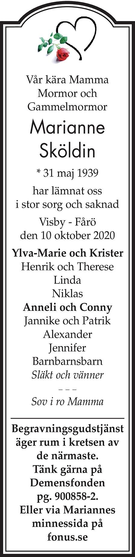 Marianne Sköldin Death notice