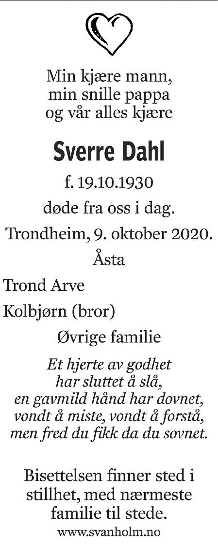Sverre Dahl Dødsannonse