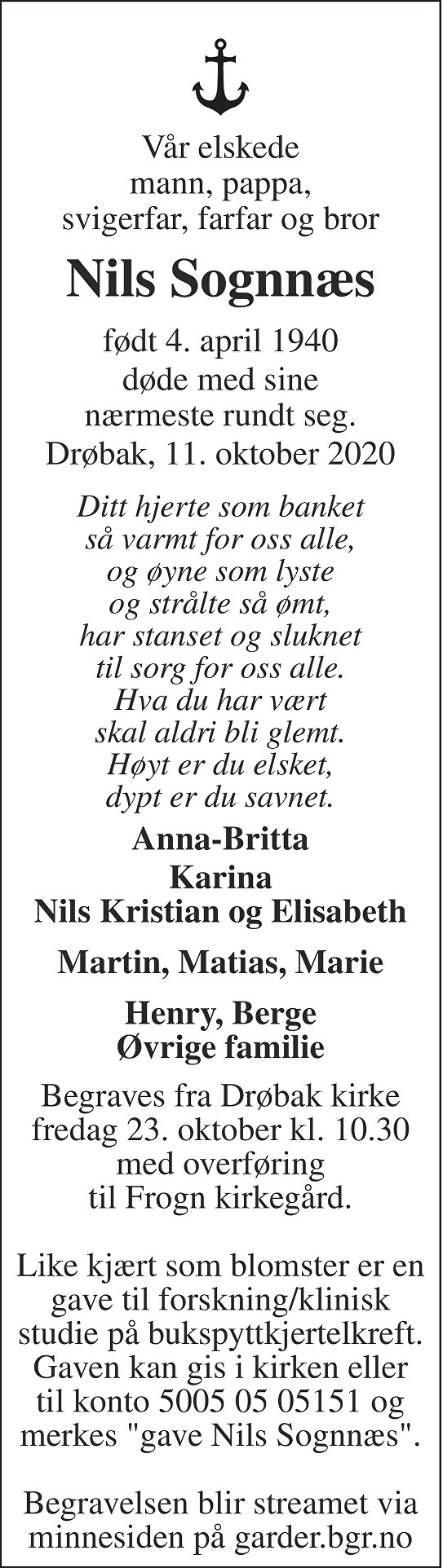 Nils Sognnæs Dødsannonse