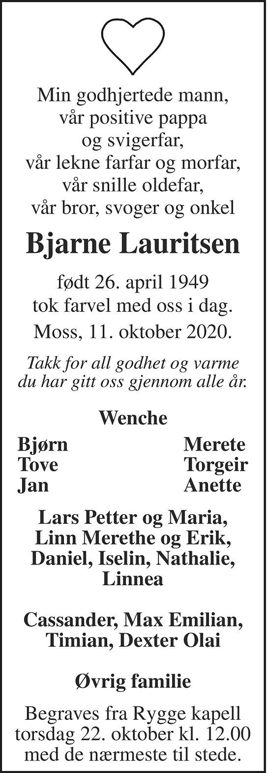 Bjarne Lauritsen Dødsannonse