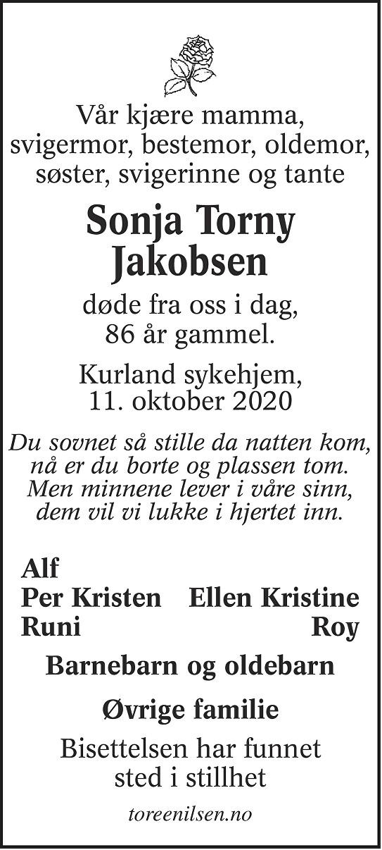 Sonja Torny Jakobsen Dødsannonse