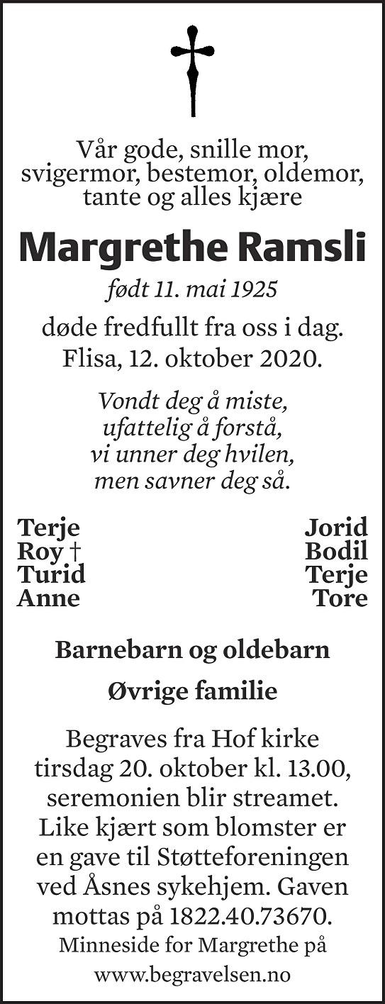 Margrethe Ramsli Dødsannonse