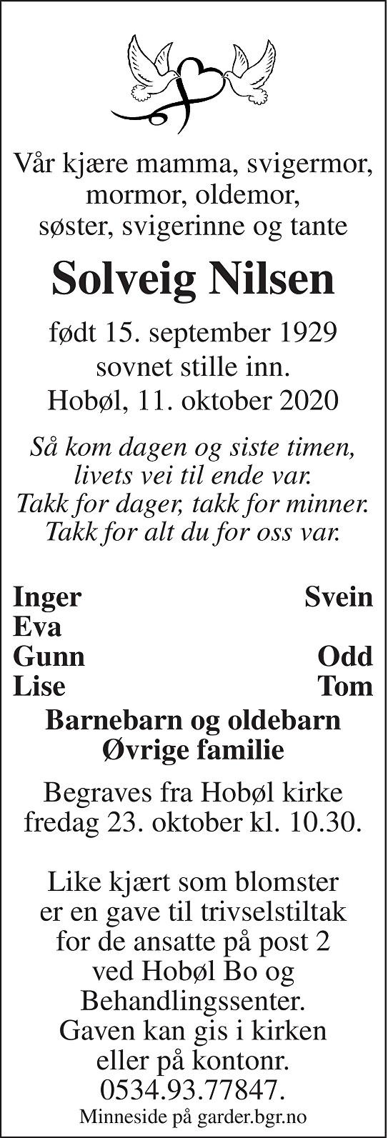 Solveig Nilsen Dødsannonse