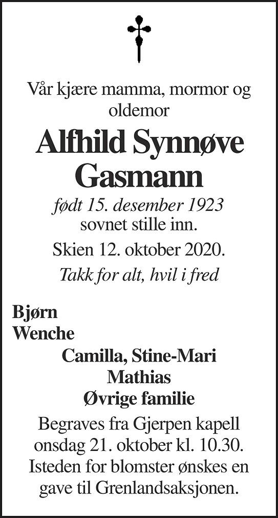 Alfhild Synnøve Gasman Dødsannonse