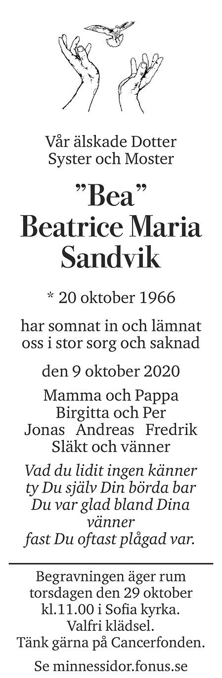 "Beatrice ""Bea"" Sandvik Death notice"