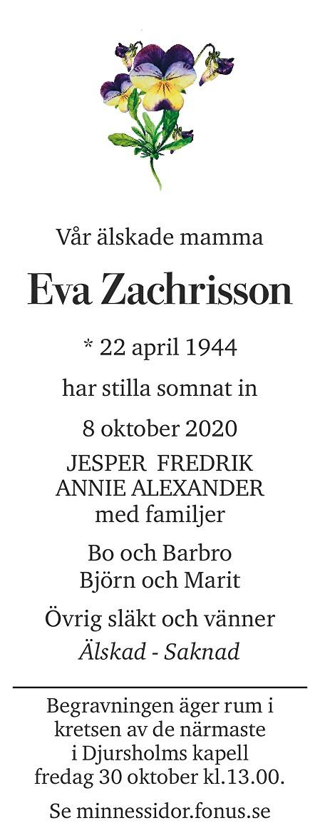 Eva Zachrisson Death notice