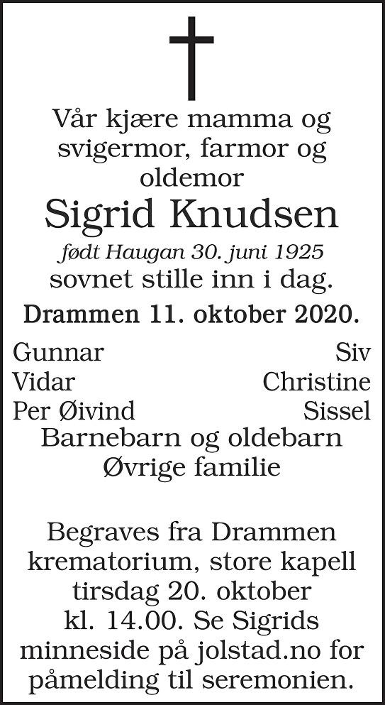 Sigrid Knudsen Dødsannonse