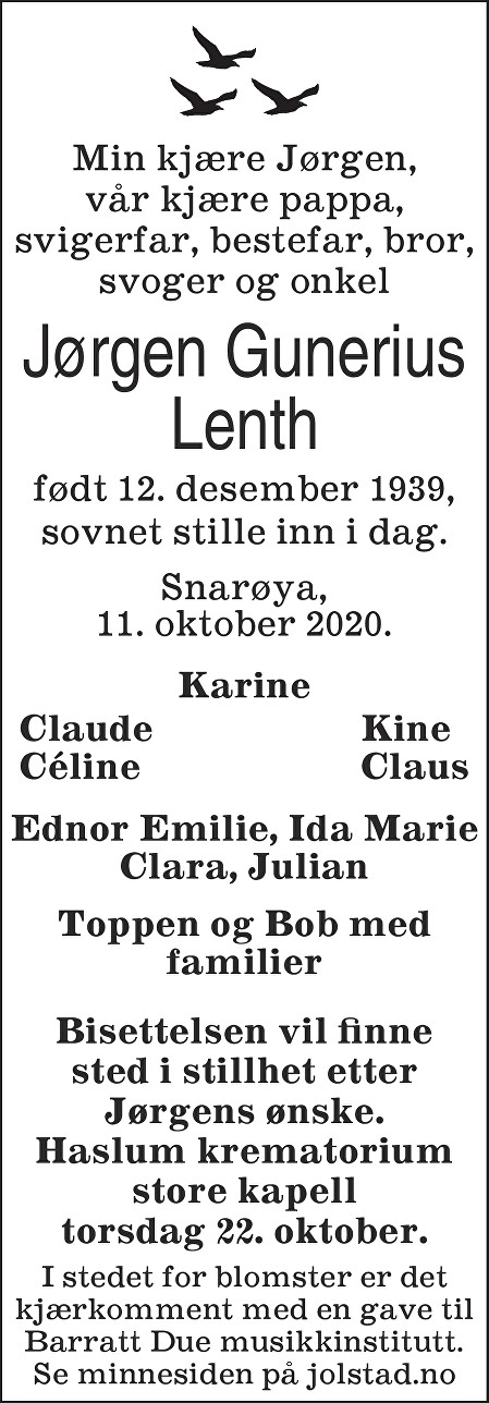 Jørgen Gunerius Lenth Dødsannonse