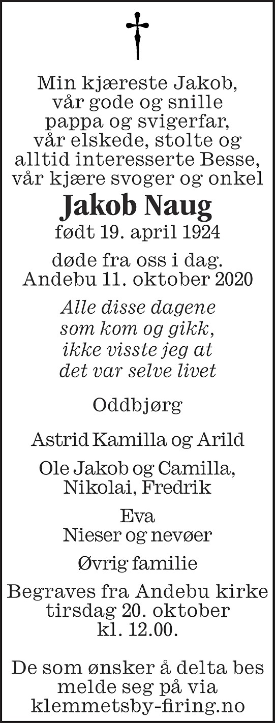 Jakob Stein Naug Dødsannonse