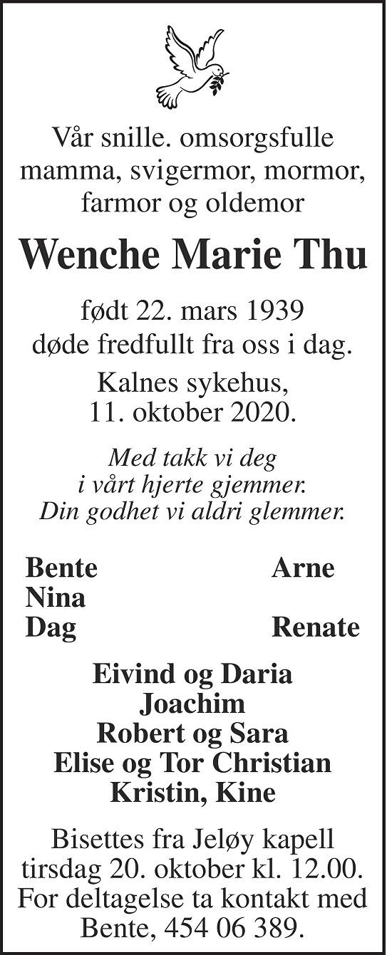 Wenche Marie Thu Dødsannonse