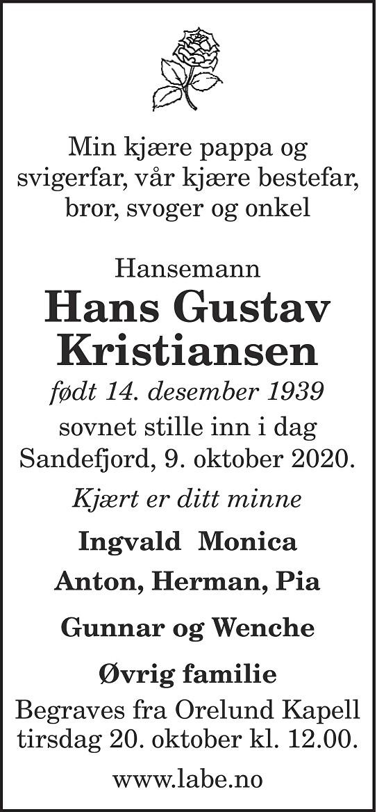Hans Gustav Kristiansen Dødsannonse