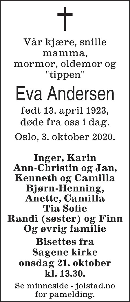 Eva Andersen Dødsannonse