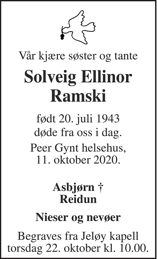 Solveig Ellinor Ramski Dødsannonse