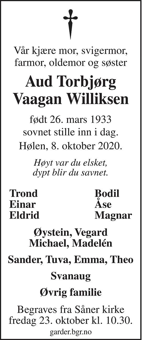 Aud Torbjørg Vaagan Williksen Dødsannonse