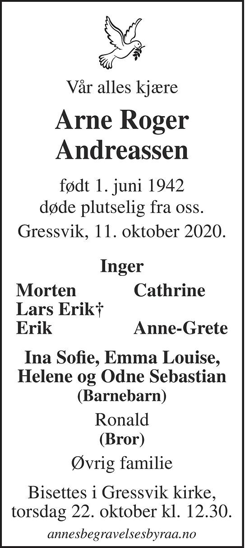Arne Roger Andreassen Dødsannonse
