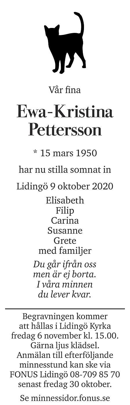 Ewa-Kristina Pettersson Death notice