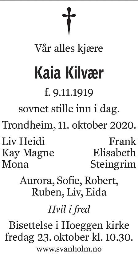Kaia Kilvær Dødsannonse