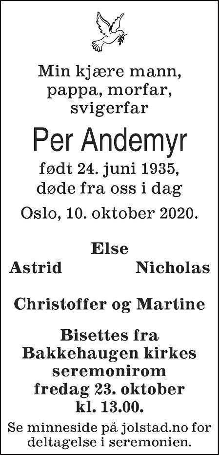 Per Andemyr Dødsannonse