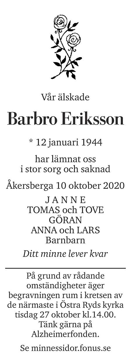 Barbro Eriksson Death notice