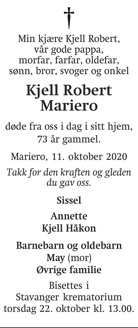 Kjell Robert Mariero Dødsannonse