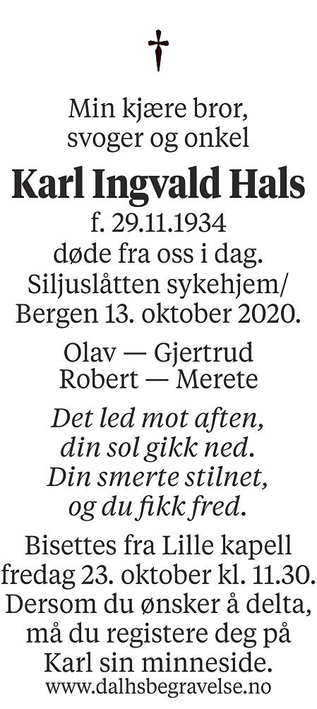 Karl Ingvald Hals Dødsannonse