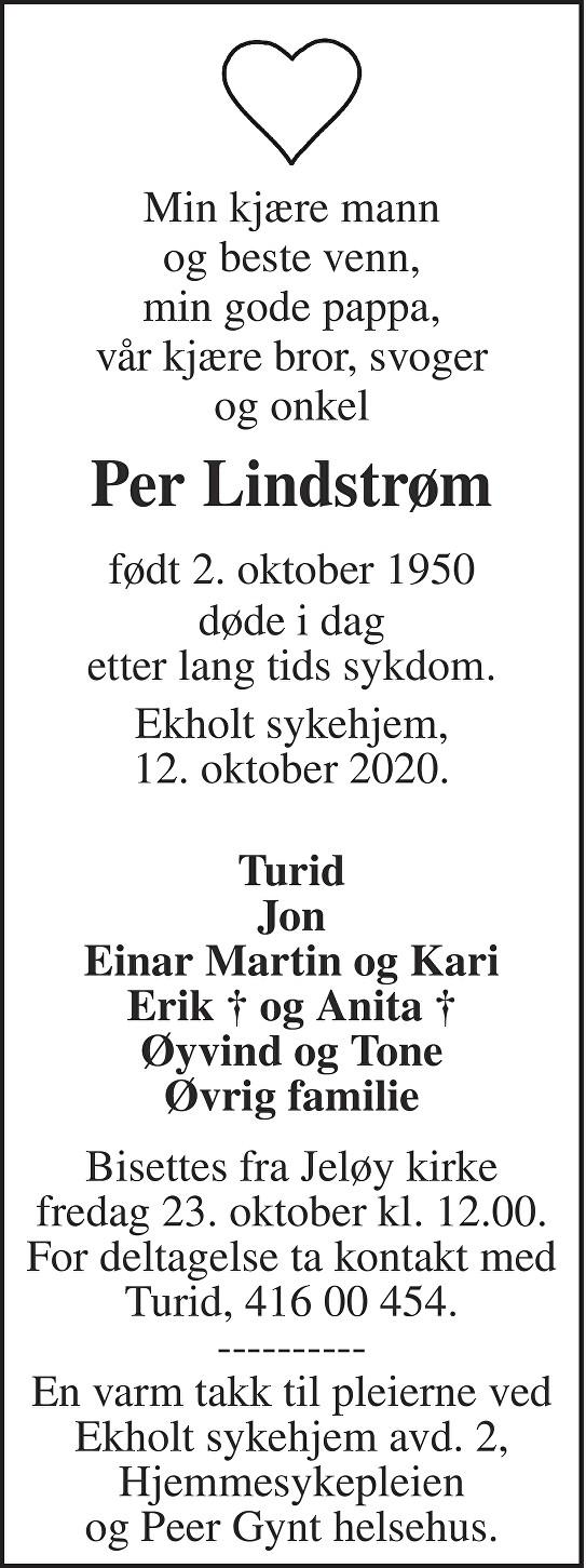 Per Lindstrøm Dødsannonse