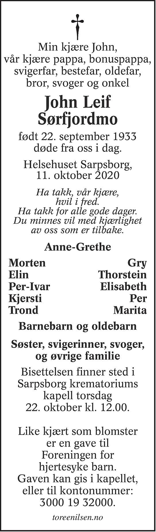 John Leif Sørfjordmo Dødsannonse