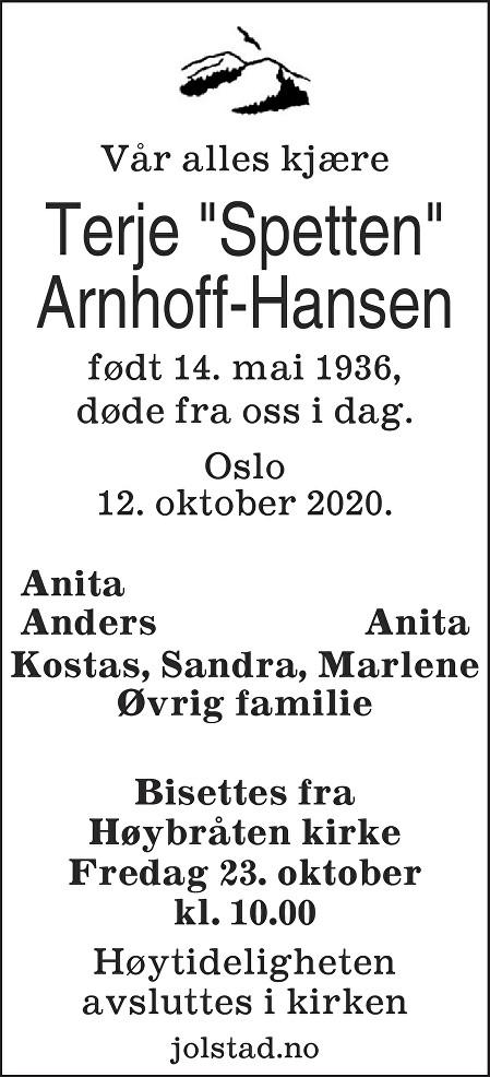 Terje Arnhoff-Hansen Dødsannonse