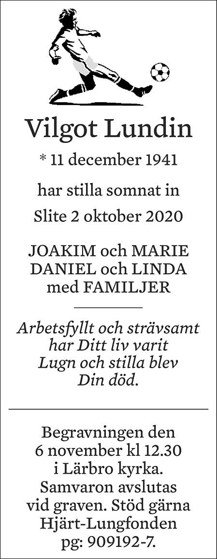 Vilgot Lundin Death notice