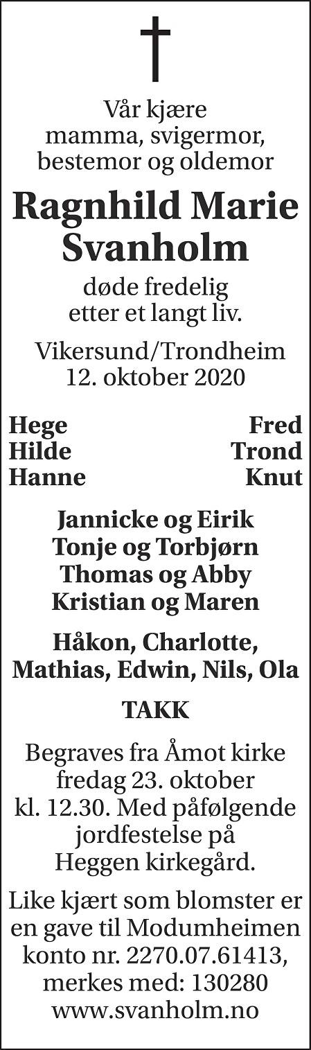 Ragnhild Marie Svanholm Dødsannonse