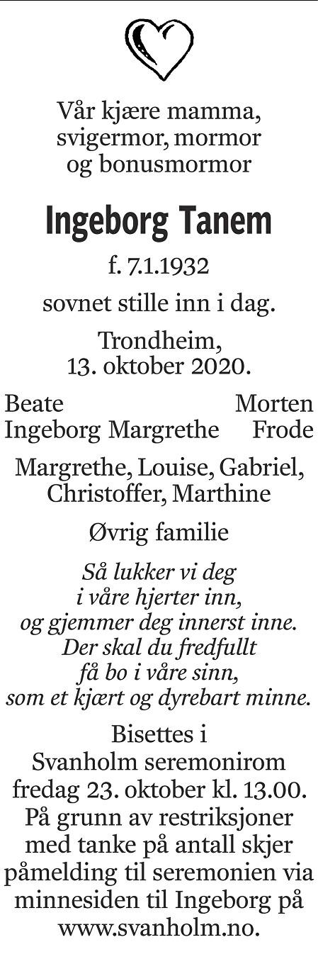 Ingeborg Tanem Dødsannonse