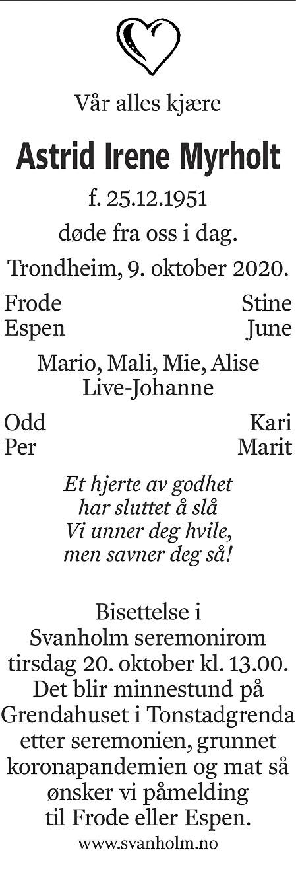Astrid Irene Myrholt Dødsannonse
