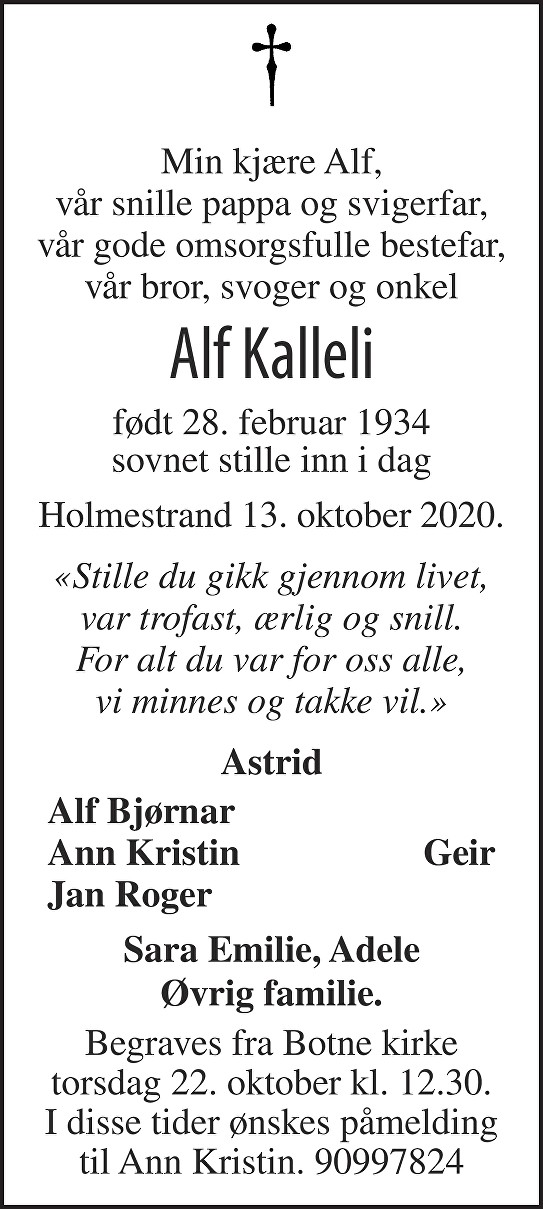 Alf Kalleli Dødsannonse