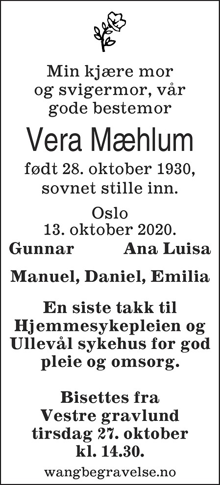 Vera Rosa Mæhlum Dødsannonse