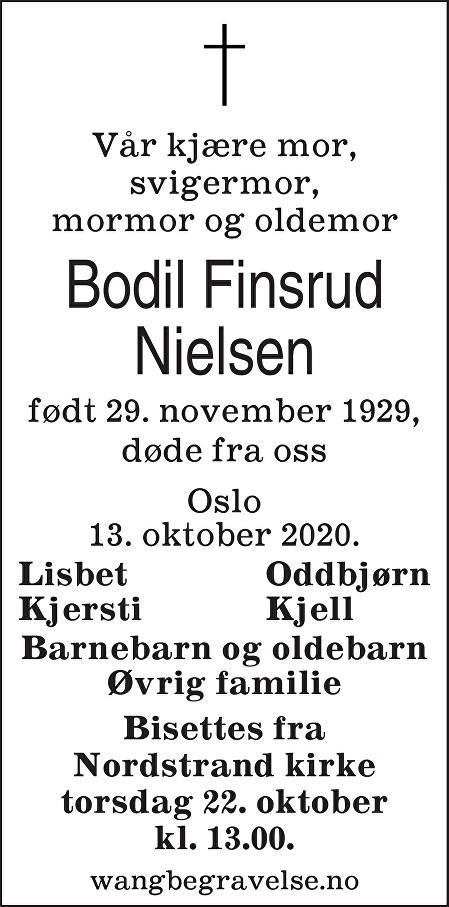Bodil Nielsen Dødsannonse