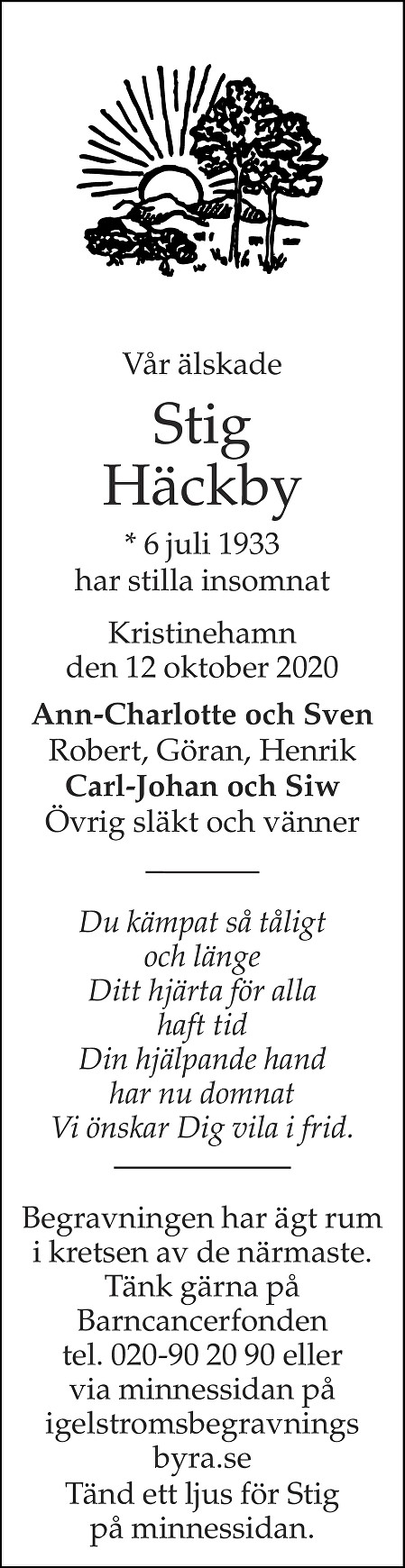 Stig Häckby Death notice