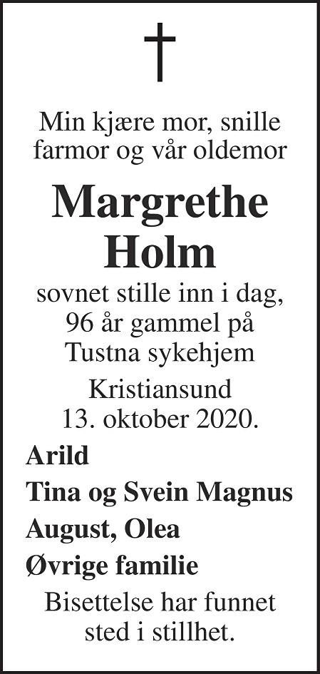 Margrethe Holm Dødsannonse