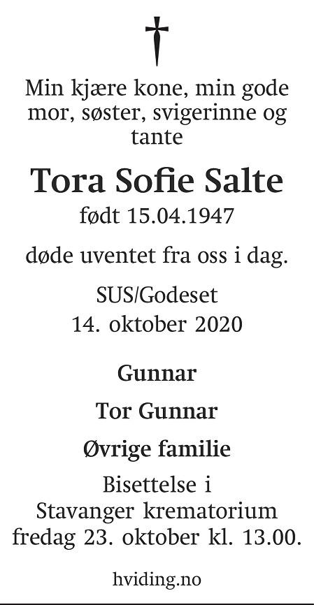 Tora Sofie Salte Dødsannonse