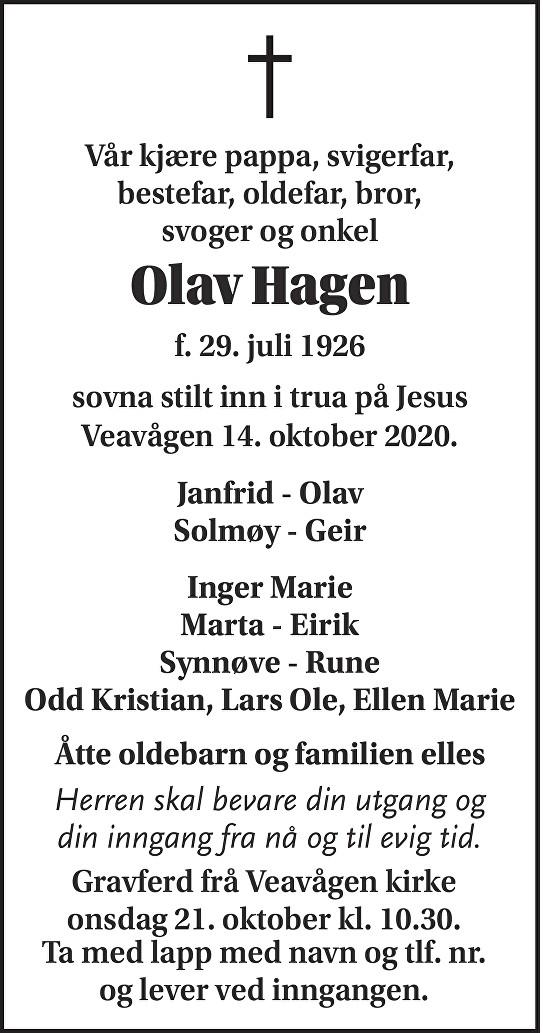 Olav Hagen Dødsannonse